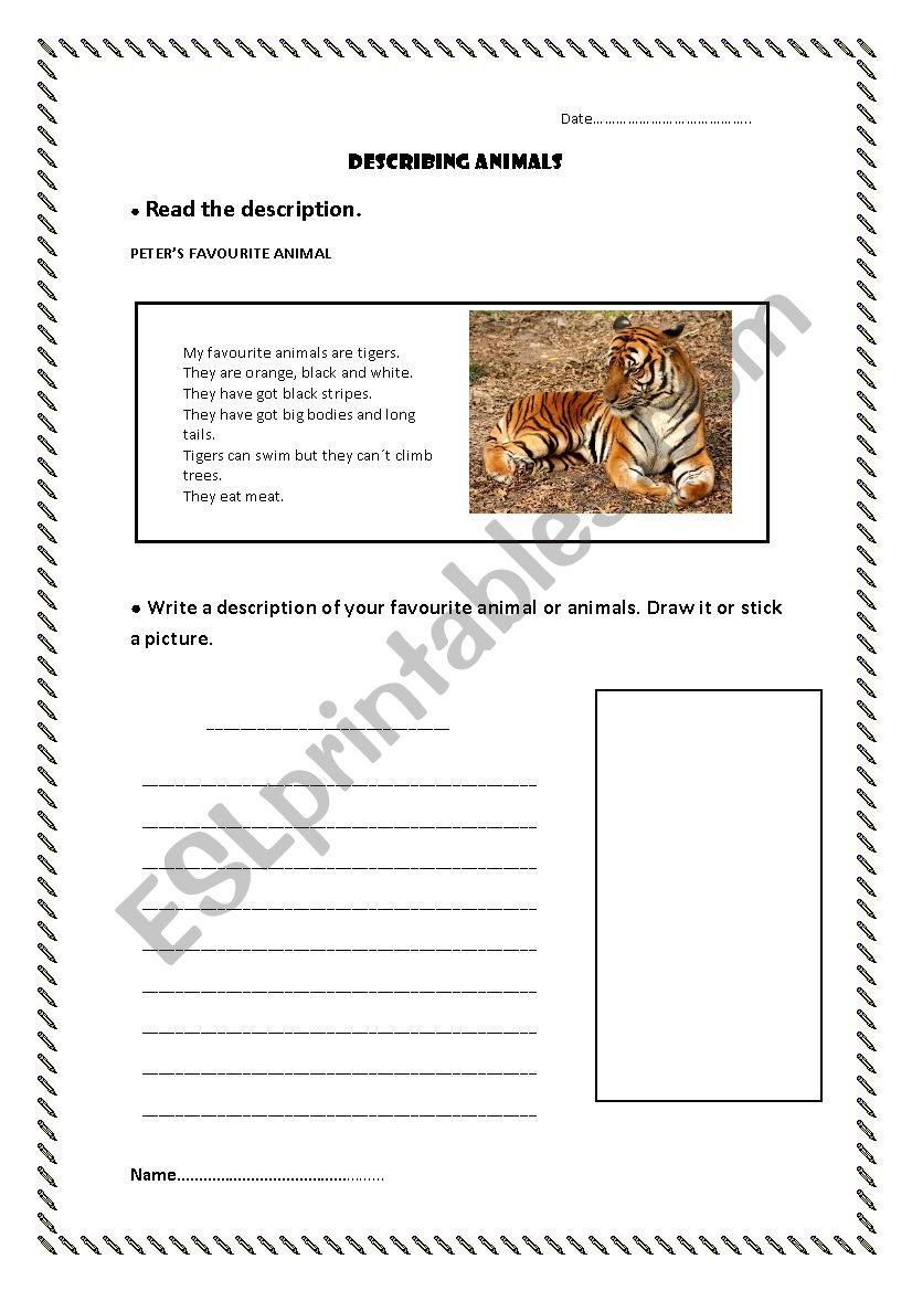describe your favorite animal esl worksheet by mrivera8. Black Bedroom Furniture Sets. Home Design Ideas