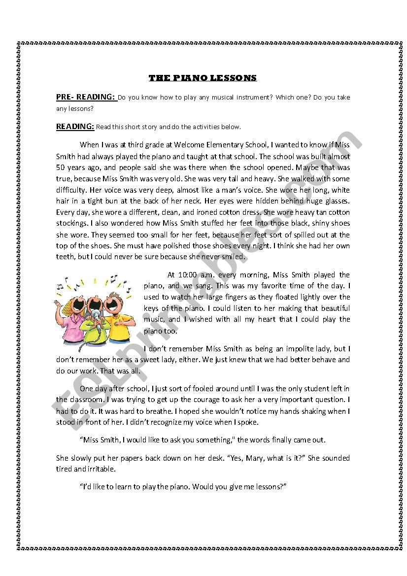 THE PIANO LESSONS worksheet