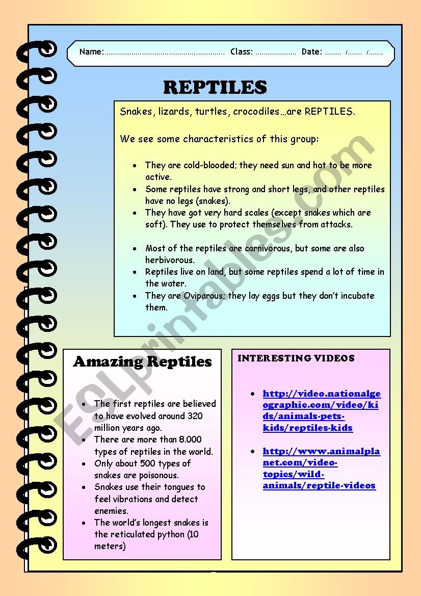 Reading comprehension. Reptiles.