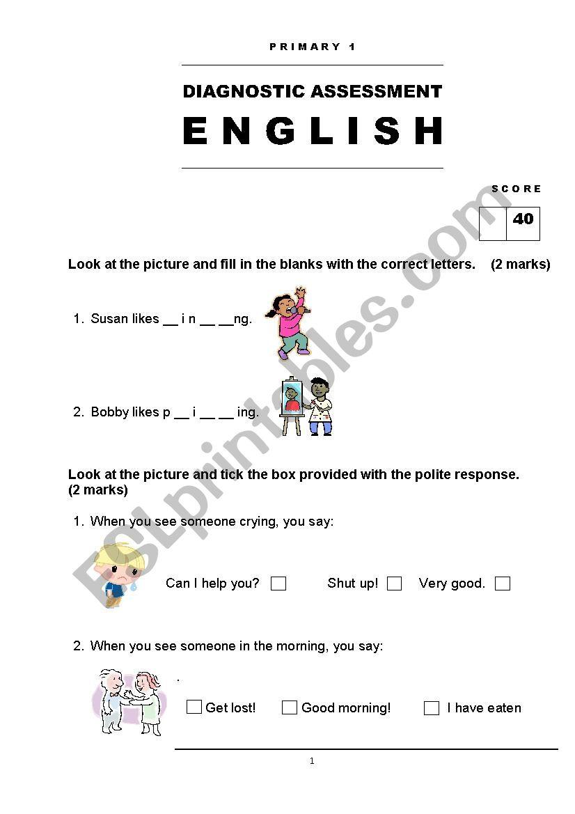 - English Assessment Grade 1 - ESL Worksheet By Giler