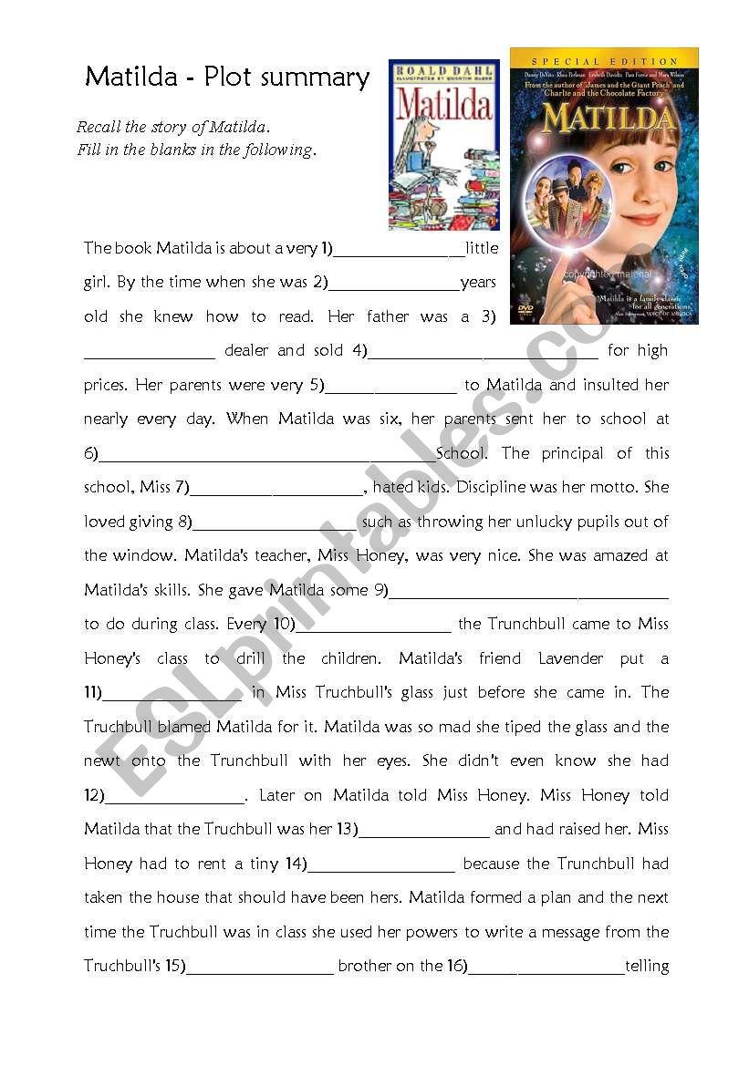 Matilda Plot Summary Esl Worksheet By Miss Lours