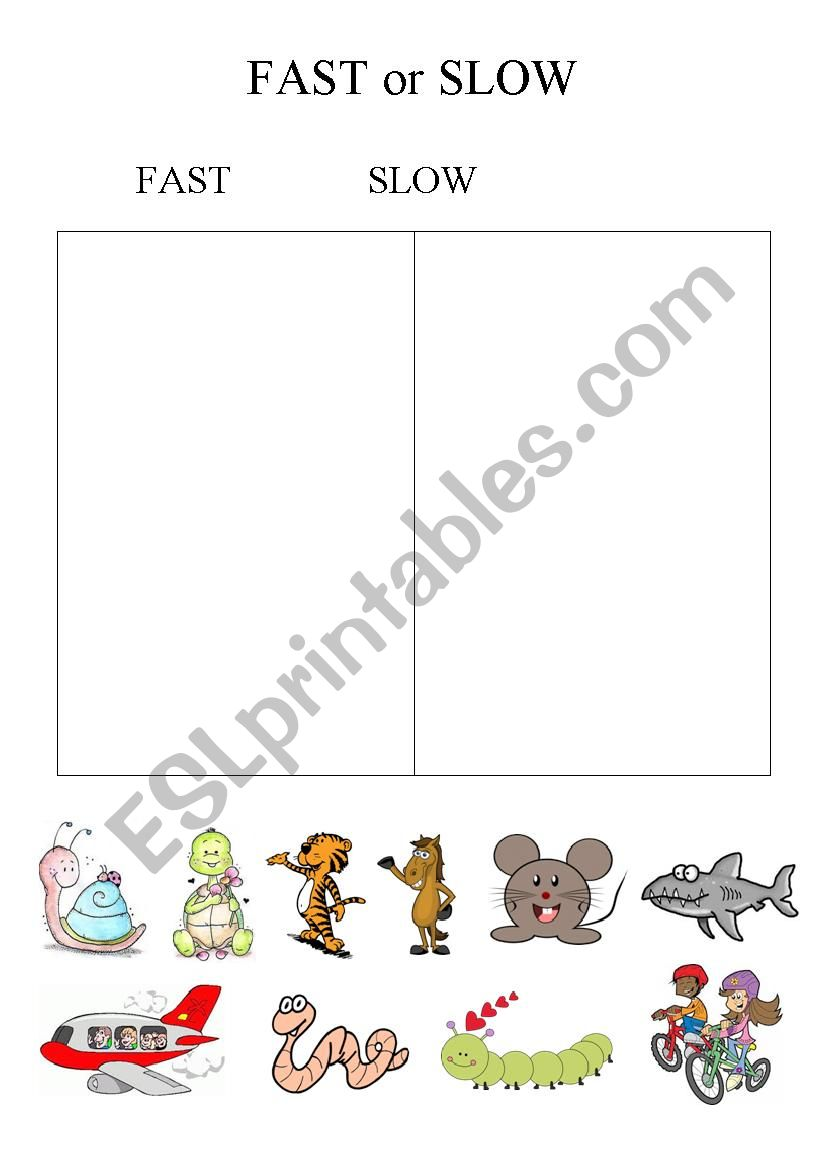 English Worksheets Fast Or Slow