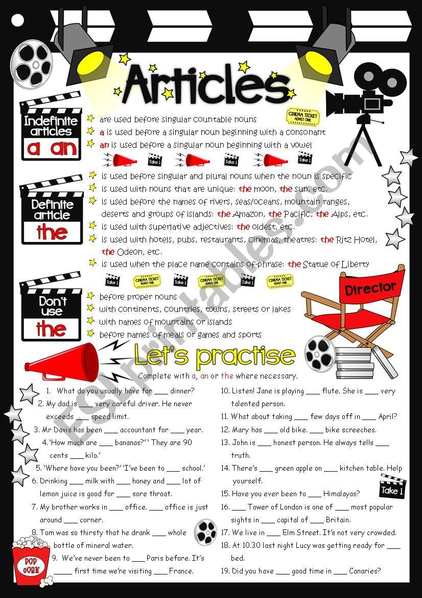 Articles - guide & practice worksheet