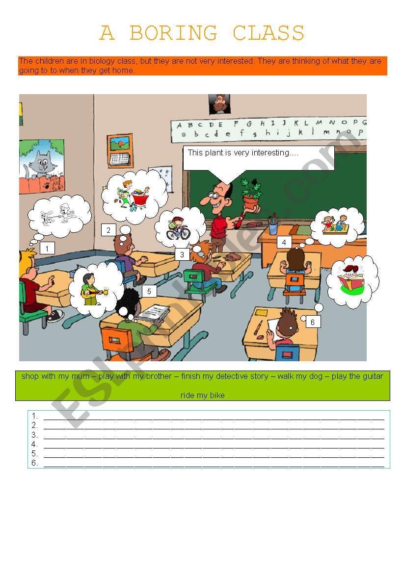 A BORING CLASS worksheet