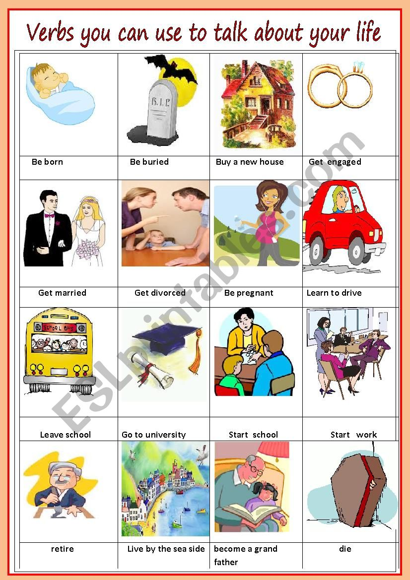 verbs you can use to talk about your life
