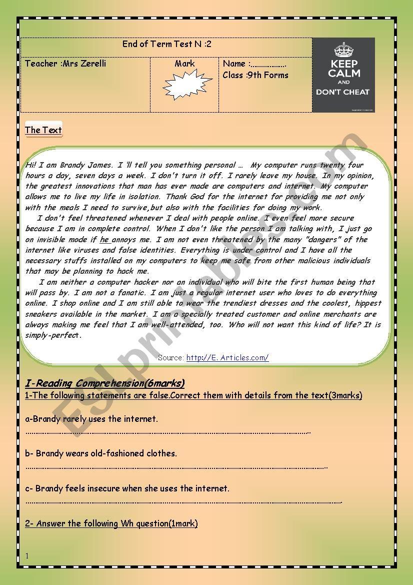an end of term testn:2 worksheet