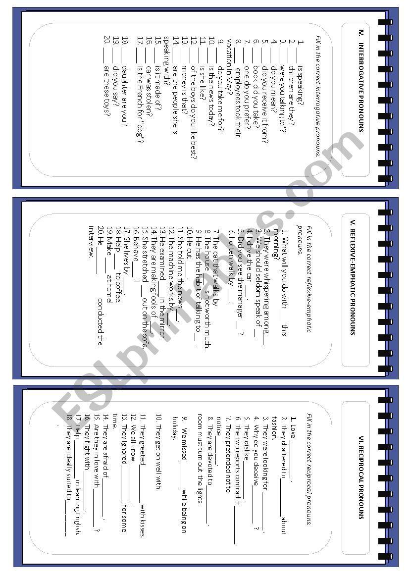 Full test on pronouns .Part 2 (interrogative, reflexive, reciprocal)