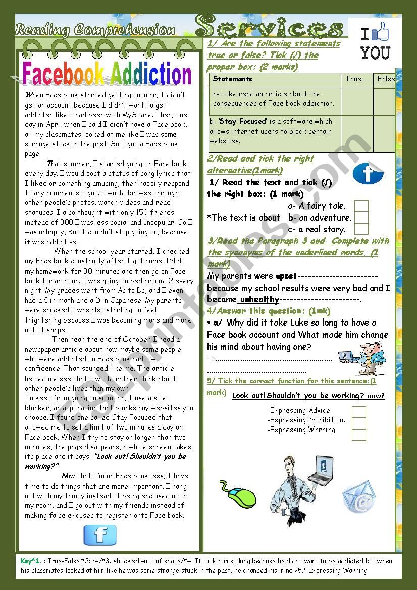 Facebook and other services(End Term2 Test9th form) 3¨Parts: Reading Comprehension+Language+Writing+Key