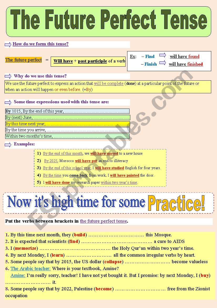 The future perfect tense, explained the best way ! (Theory + Practice) + answer Key