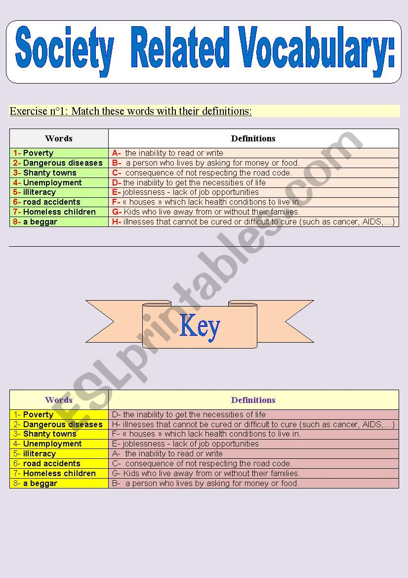 Society related vocabulary  + key to the answers