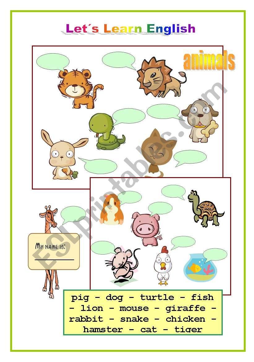 Cute Animals worksheet
