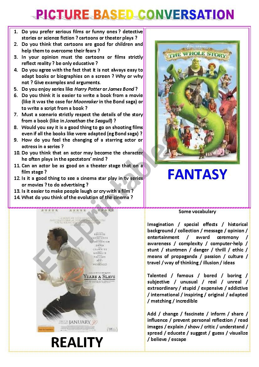 Picture-based conversation : topic 3 - fantasy vs reality (in the cinema)