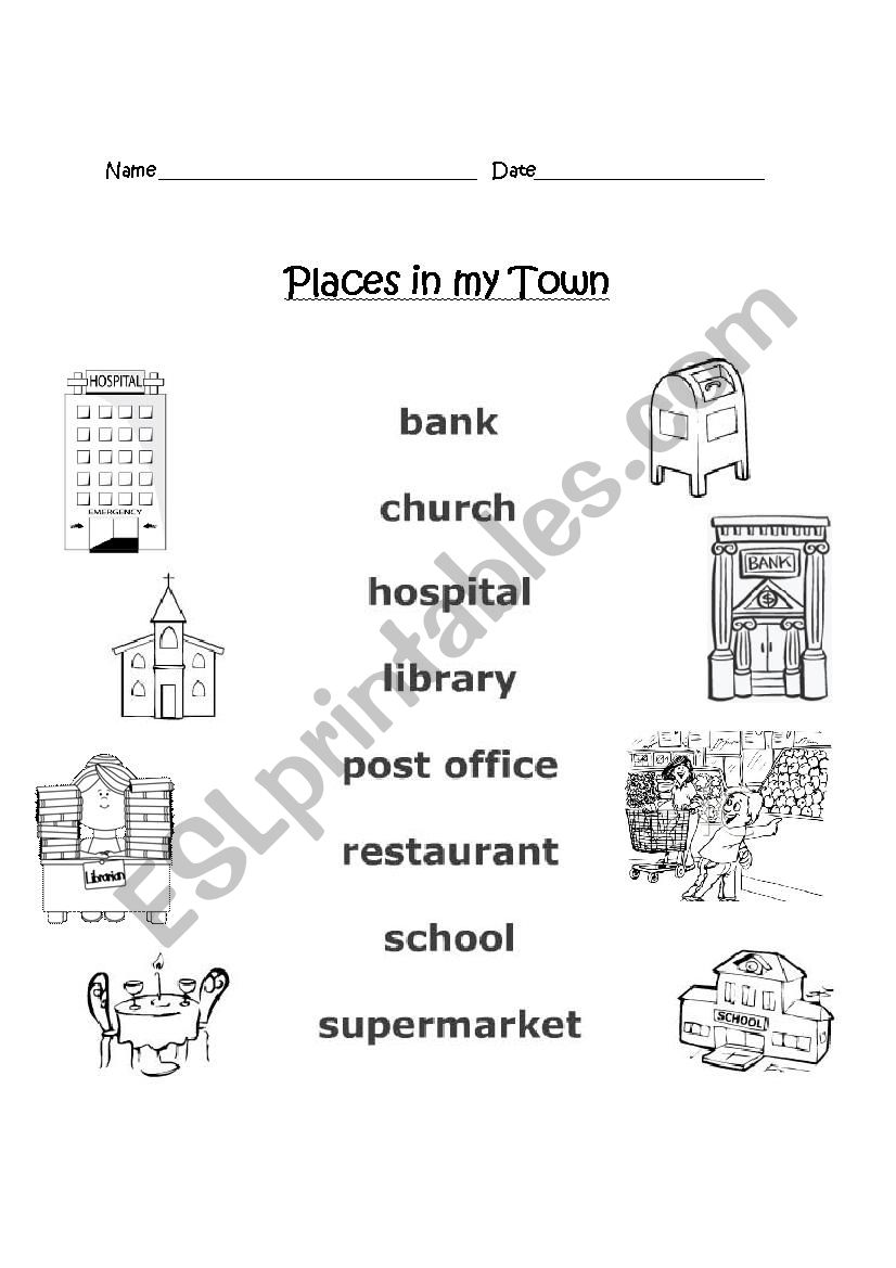 places in my town esl worksheet by eabrams32. Black Bedroom Furniture Sets. Home Design Ideas