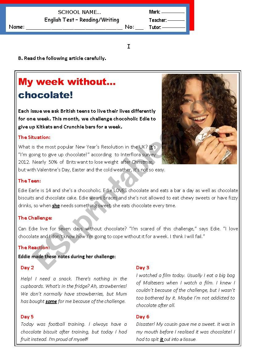 My week without chocolate (Addictions) B1 - pre-intermediate