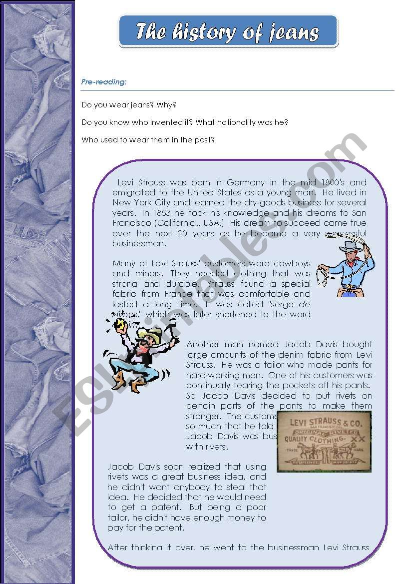 the history of jeans worksheet