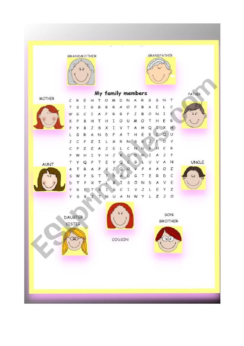 Word search My family worksheet