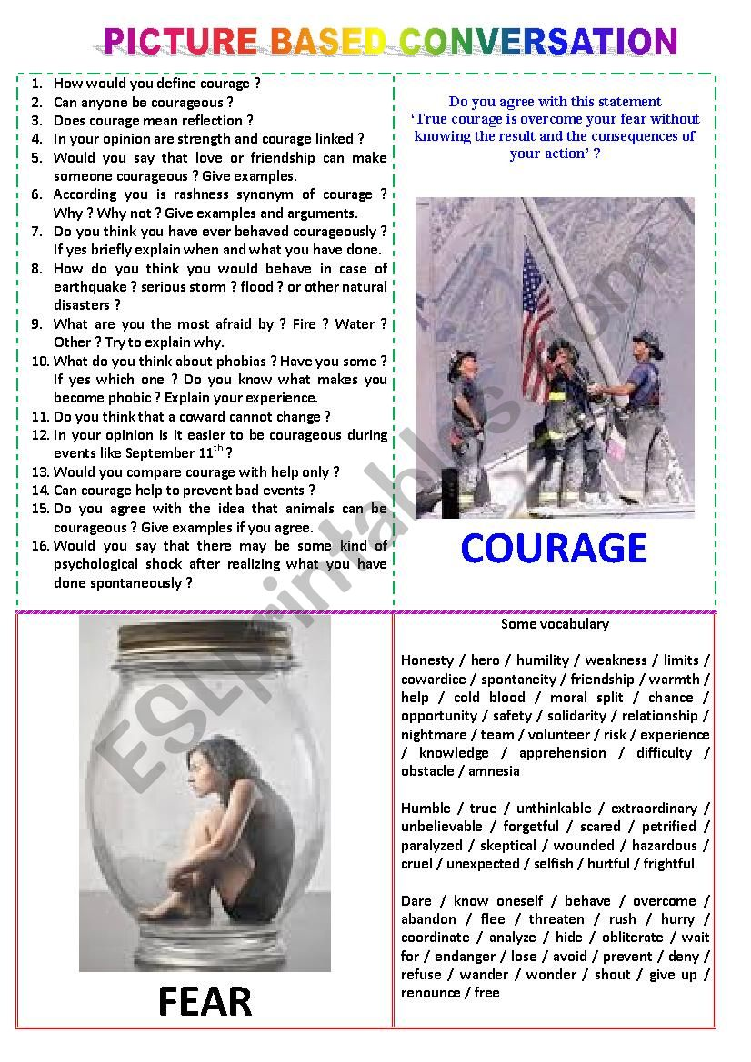 Picture-based conversation : topic 5 - courage vs fear
