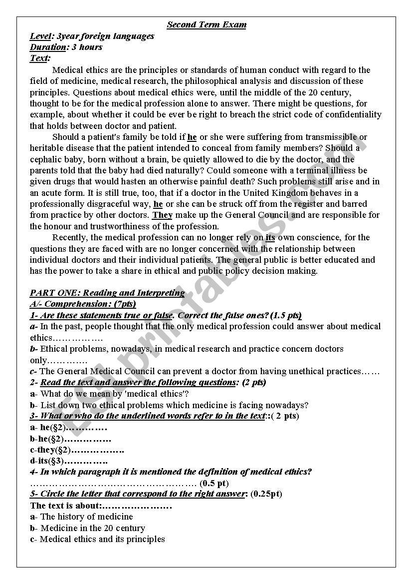 ethics  worksheet
