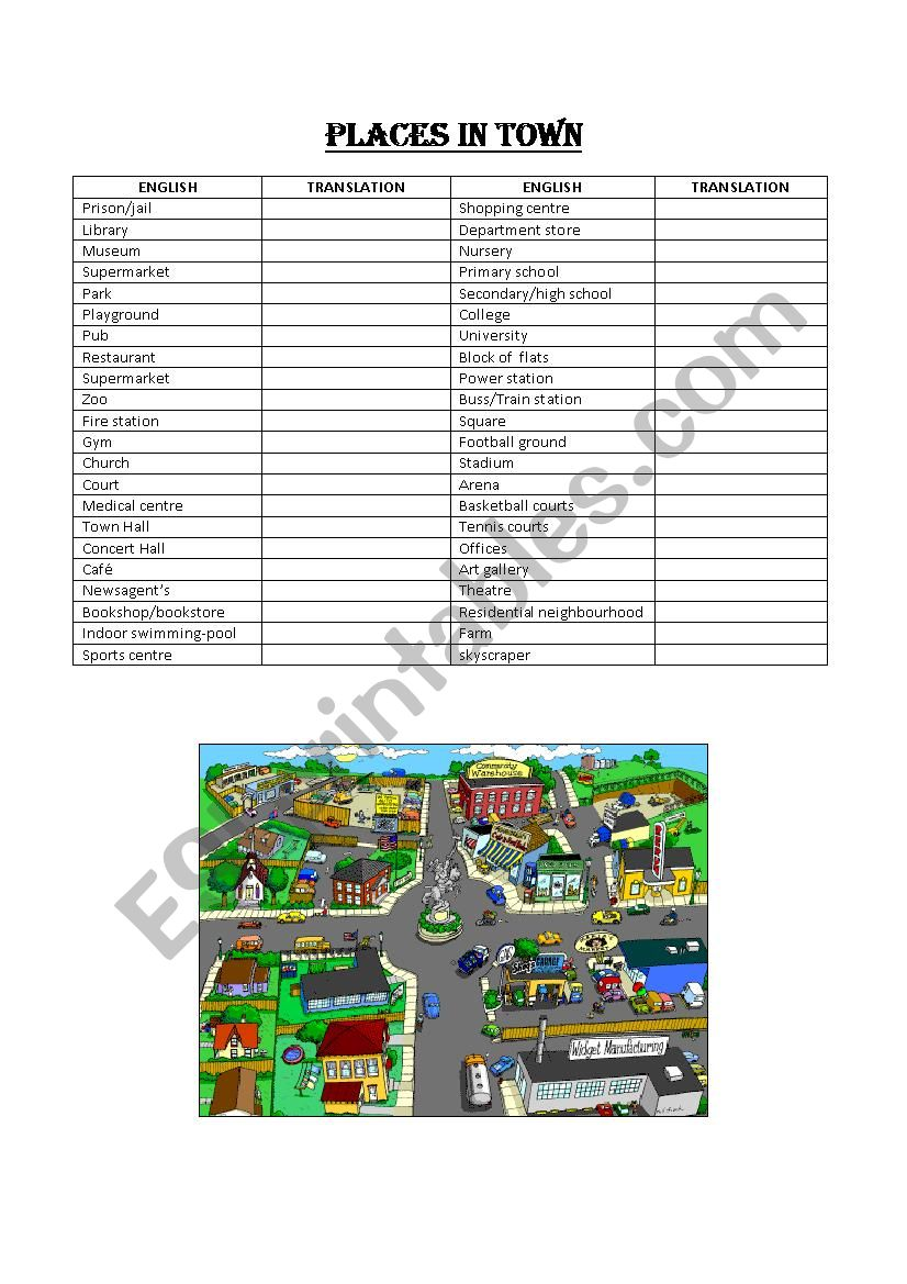 Vocabulary Places in Town worksheet