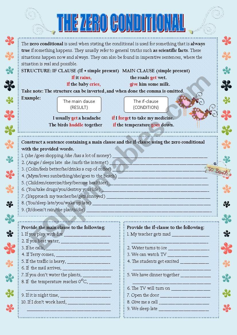 Zero Conditionals worksheet