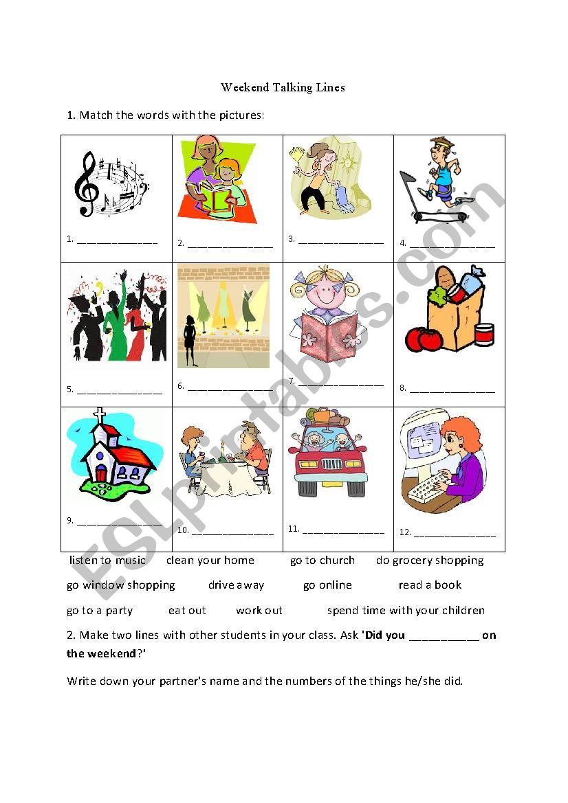 Weekend Activities worksheet