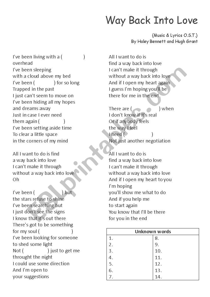 English worksheets: Pop Song English(Way Back Into Love from