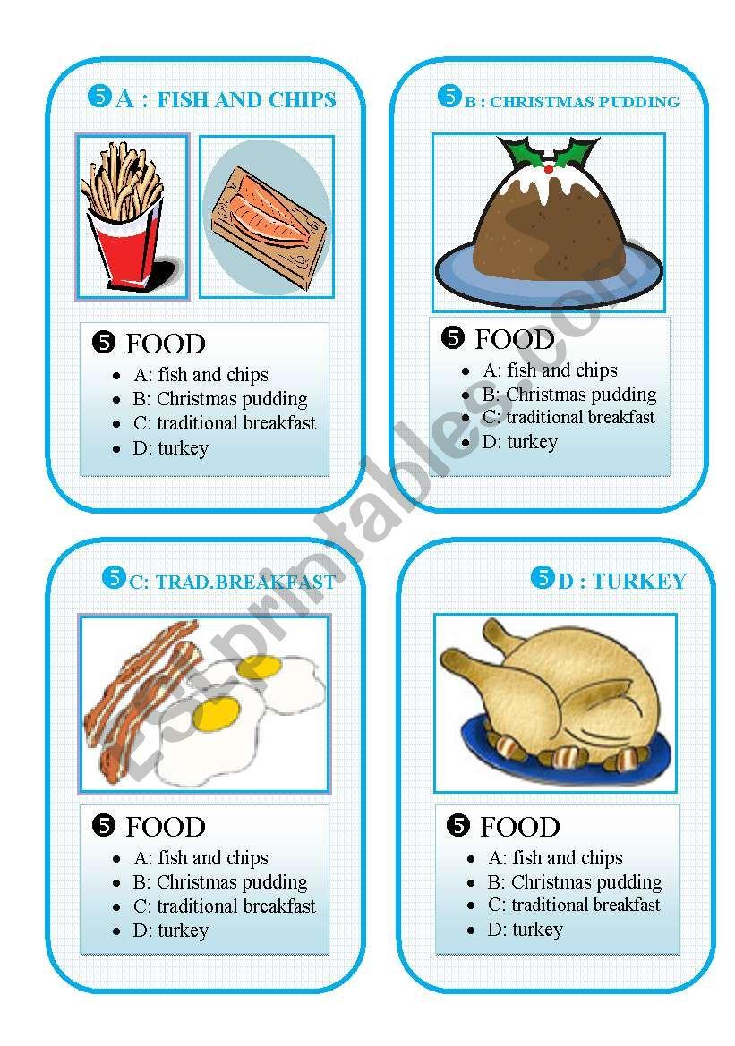 BRITAIN GO FISH CARD GAME - set 5 - food