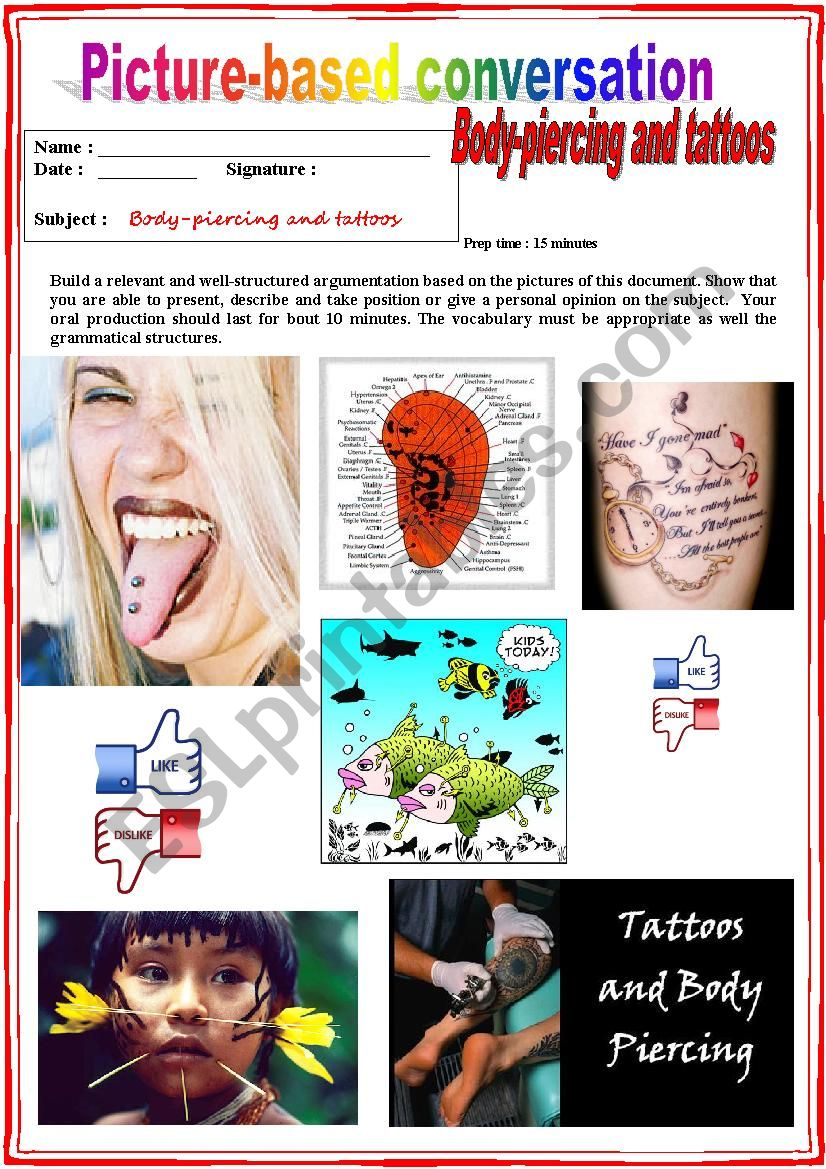 Picture based conversation.  Body-piercing and Tattoos (Debating) 2/...
