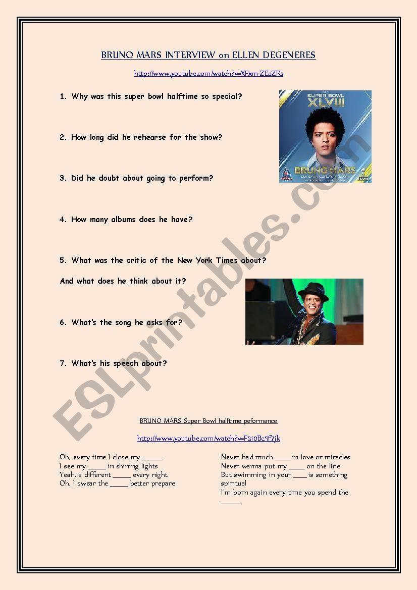 Video comprehension: Bruno Mars interview on Ellen Degeneres show