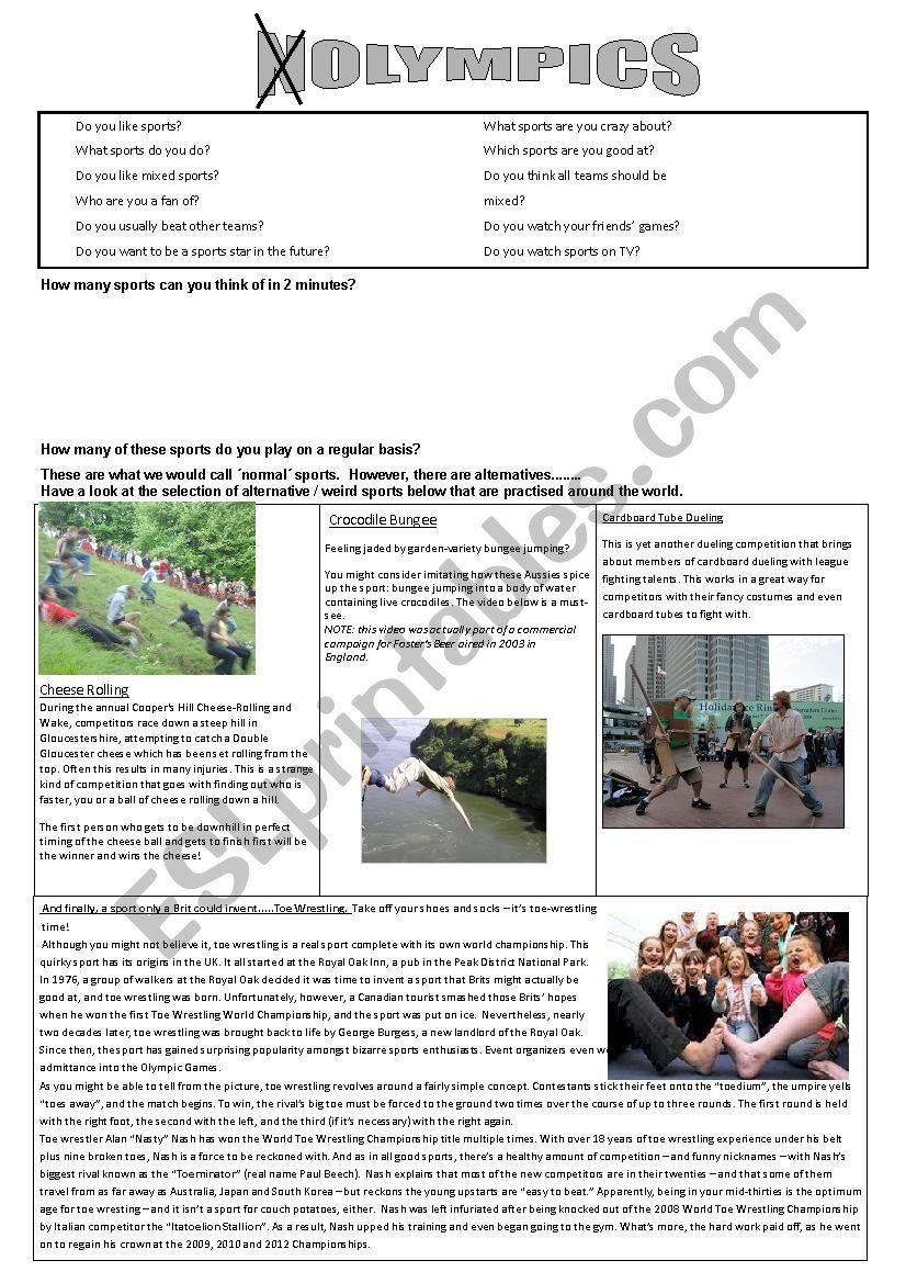 Nolympics worksheet