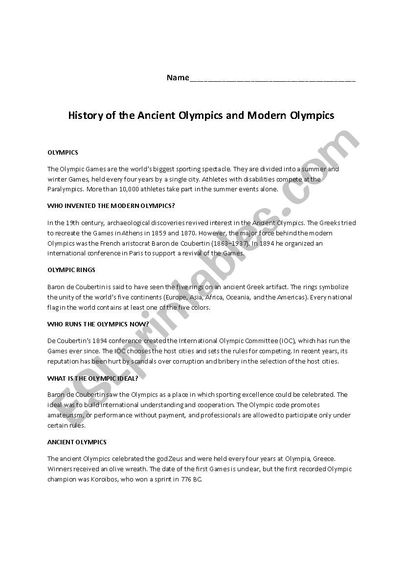 History of the Ancient Olympics and Modern Olympics - ESL