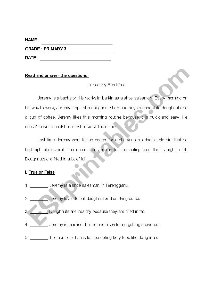 - Comprehension Primary 3 - ESL Worksheet By Giler