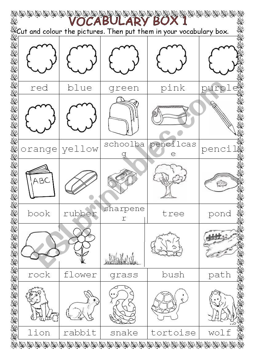 vocabulary box 1 - ESL worksheet by coralisa