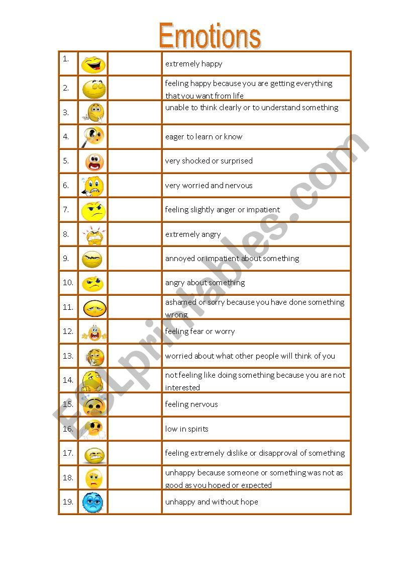 Adjectives to Describe Emotions
