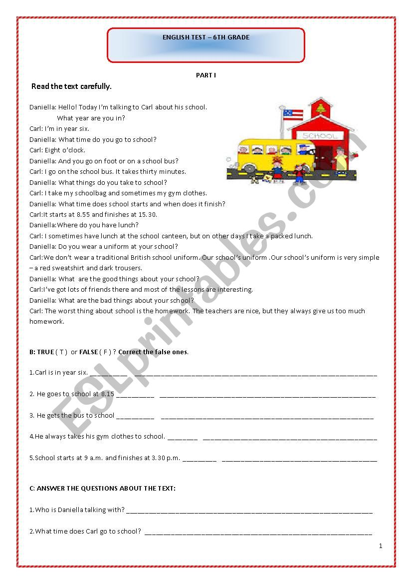 English test-6th grade worksheet