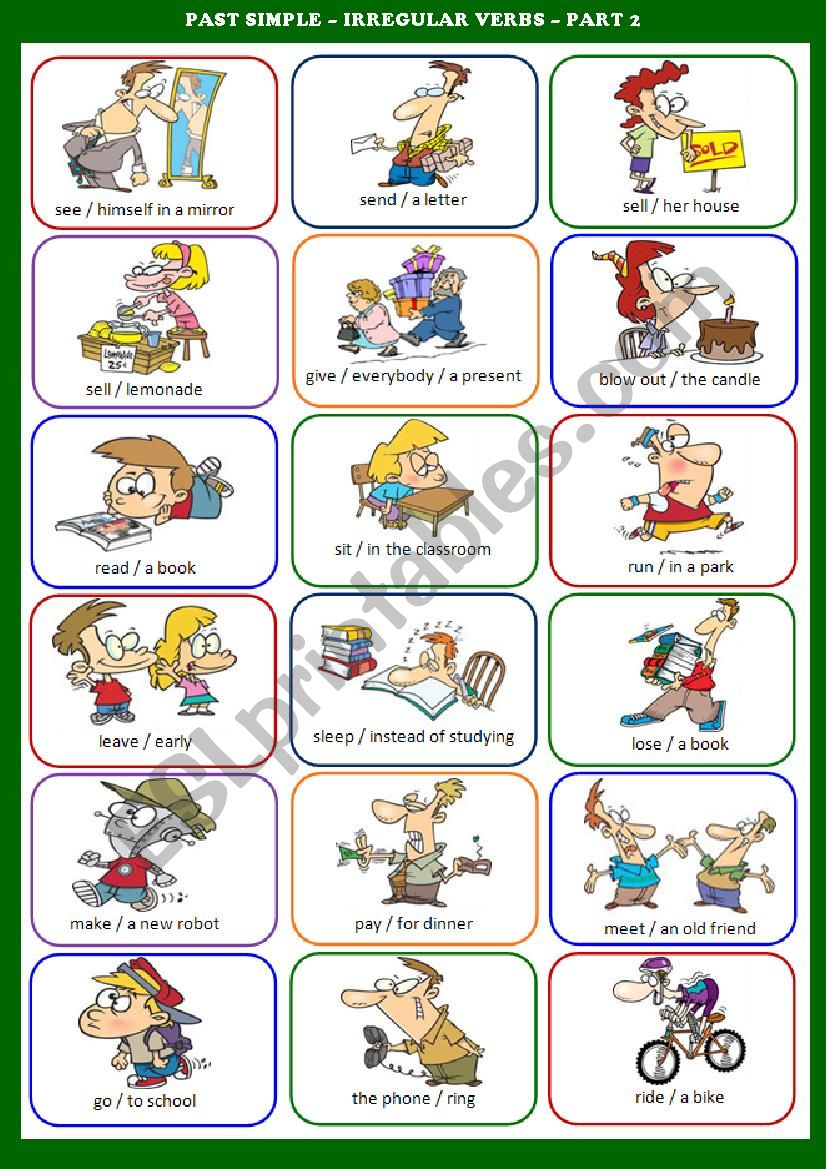 esl simple past irregular verbs exercises pdf