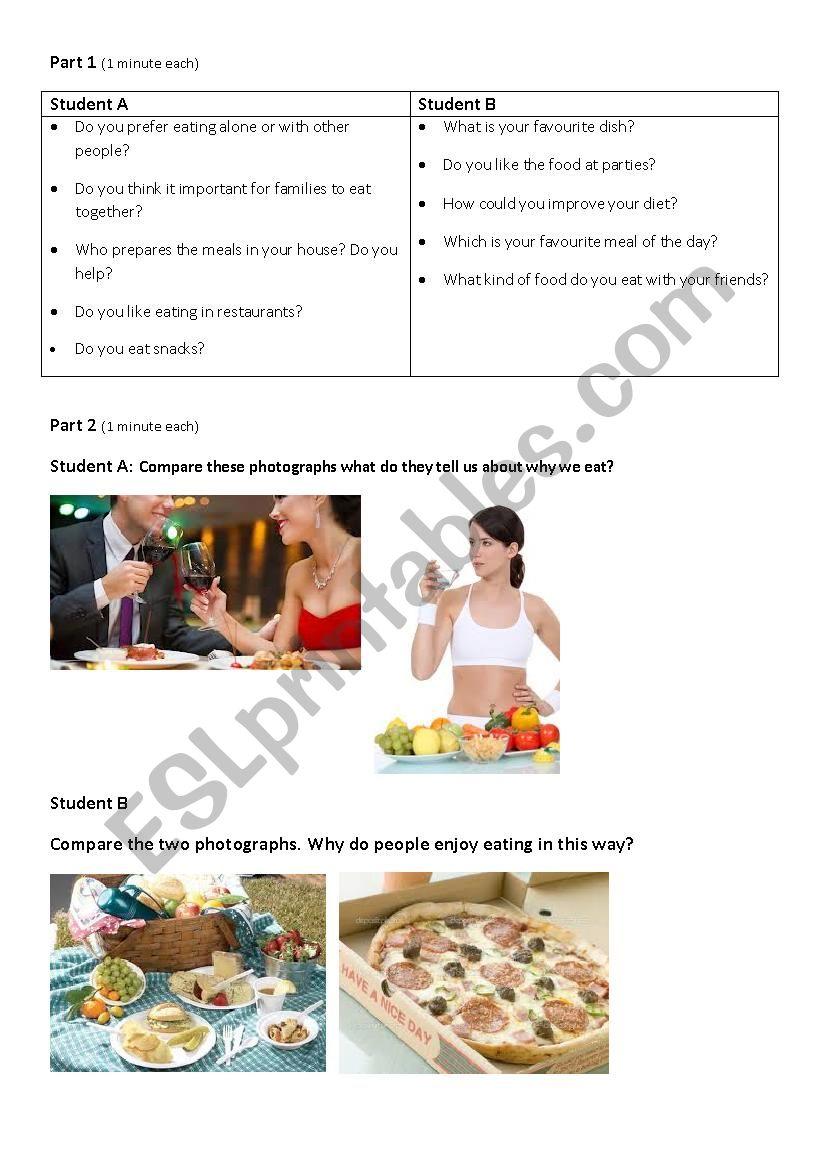 FCE Speaking Exam Practice:Food