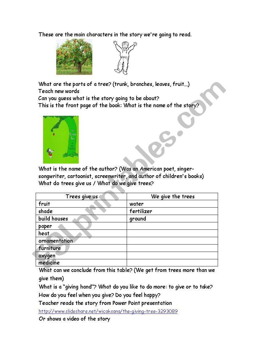 picture regarding The Giving Tree Printable Worksheets identify The Providing Tree - ESL worksheet by way of liati