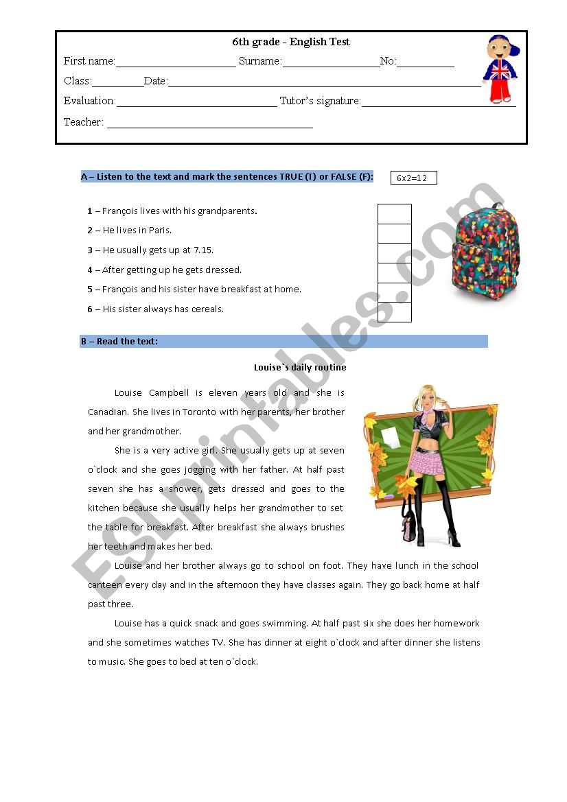 6th grade- English test  worksheet