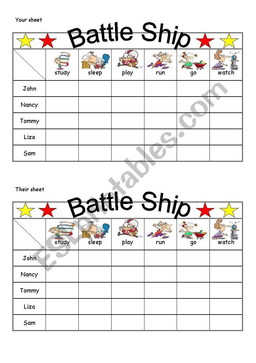 Battle ship worksheet
