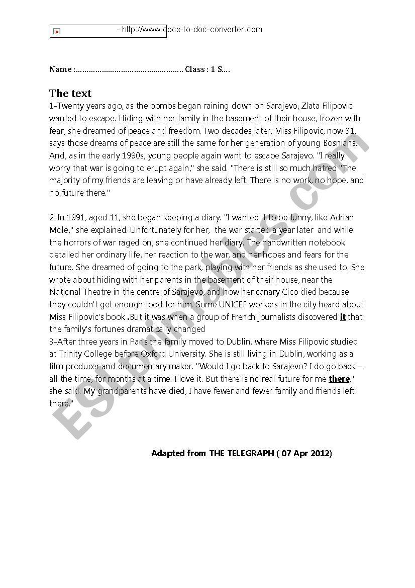 Full Term test N°2 First Form - ESL worksheet by amiri12