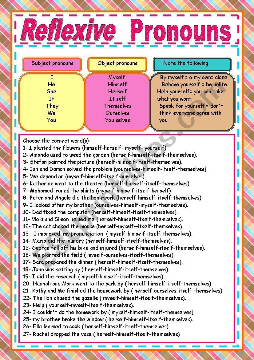 reflexive pronouns exercises worksheet