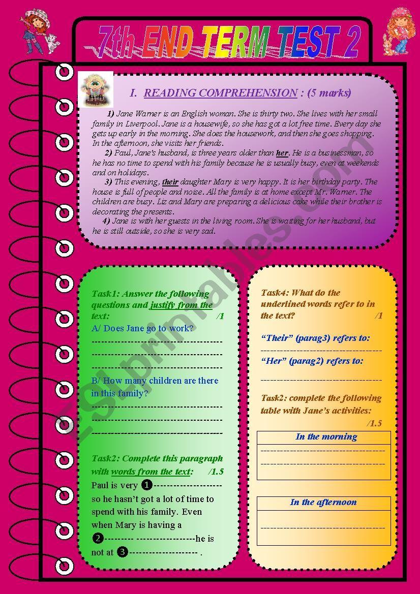 7th END TERM TEST N 2  worksheet