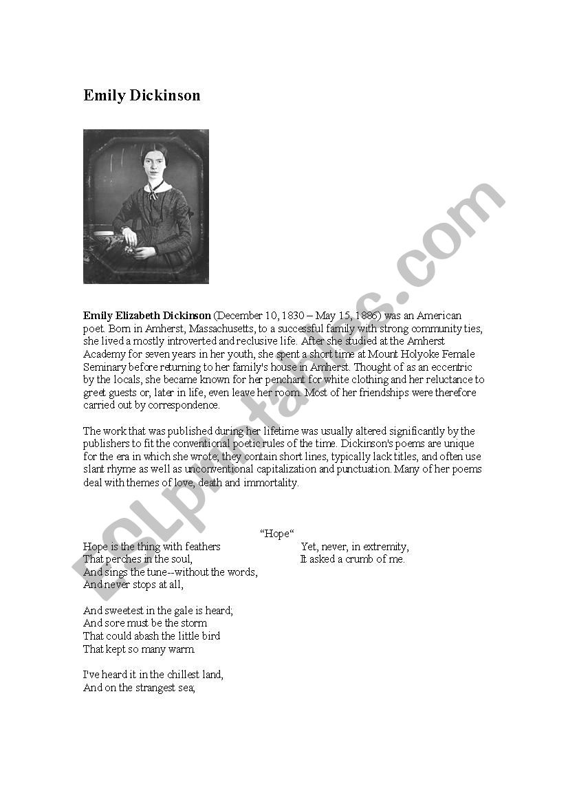 Hope A Poem Bu Emily Dickinson Esl Worksheet By Iangie
