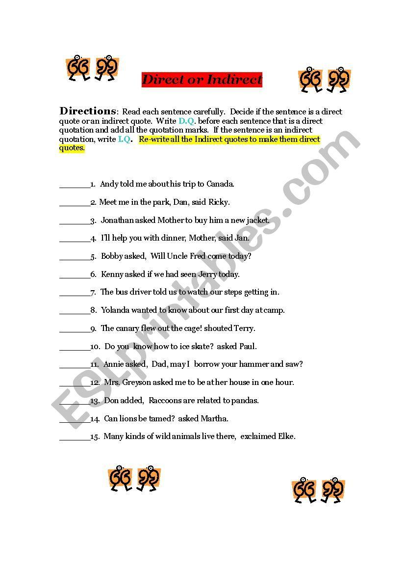 Direct Indirect speech - ESL worksheet by moyenoivis
