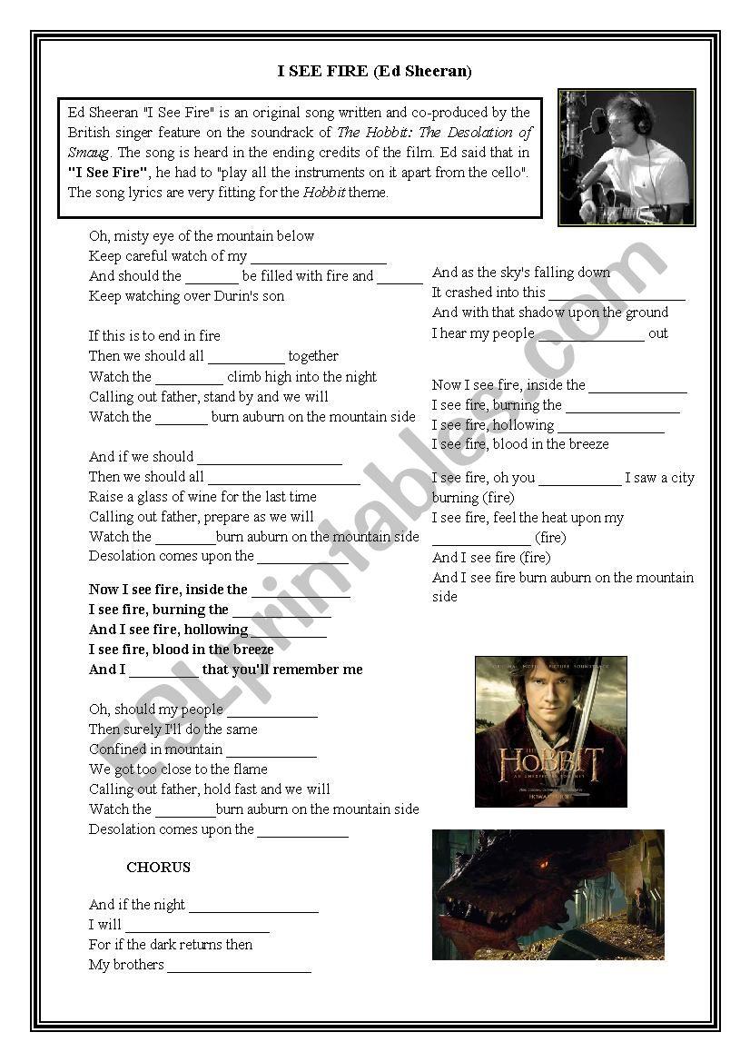 I see fire - Ed Sheeran worksheet