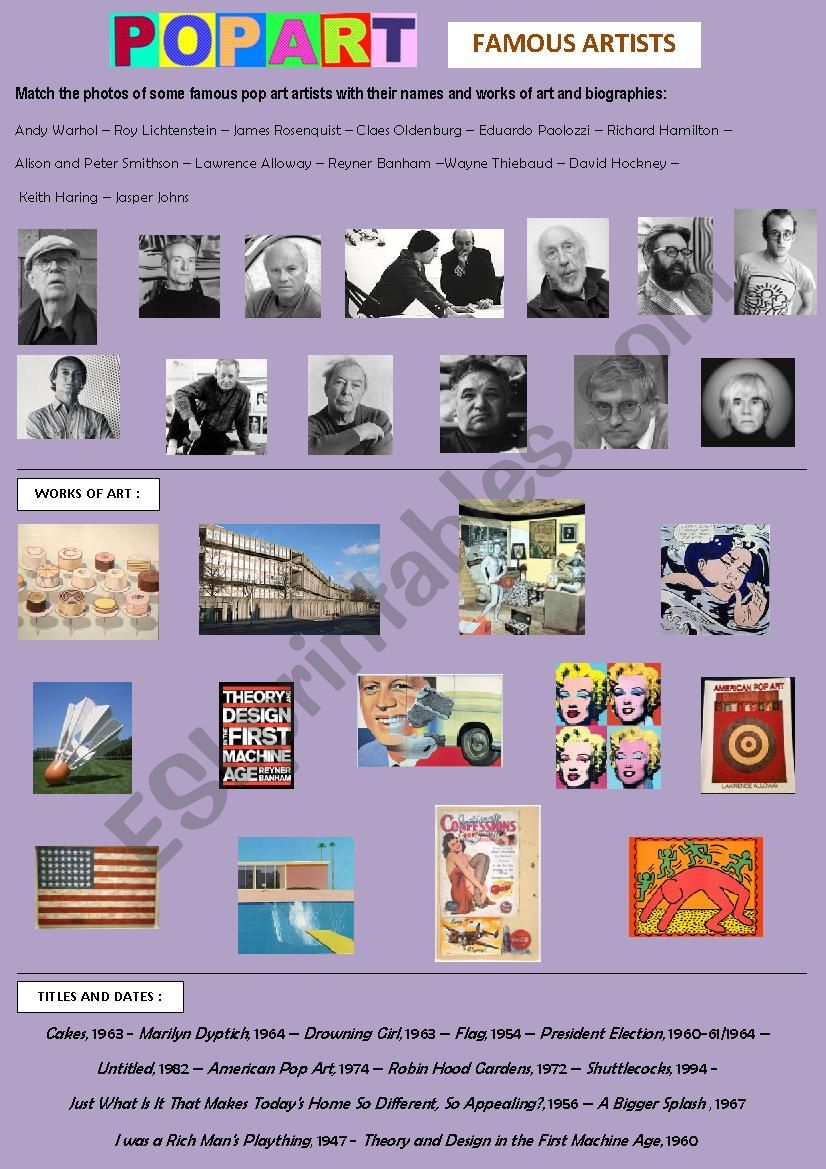 Pop Art - famous artists worksheet