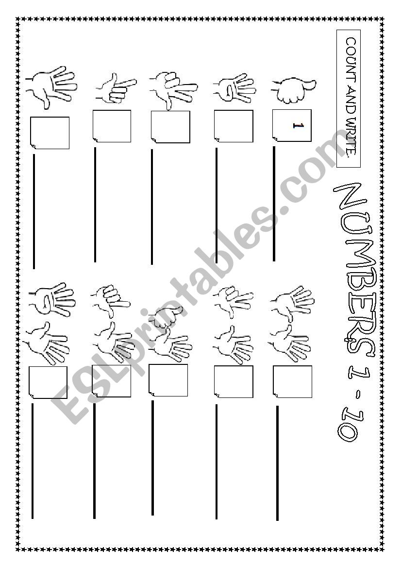 Numbers 1 - 10 worksheet