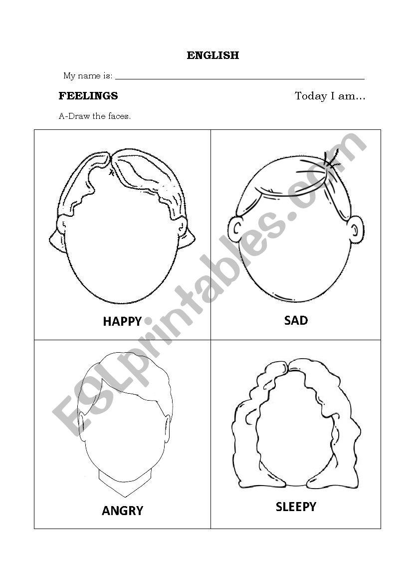 feelings faces to draw worksheet