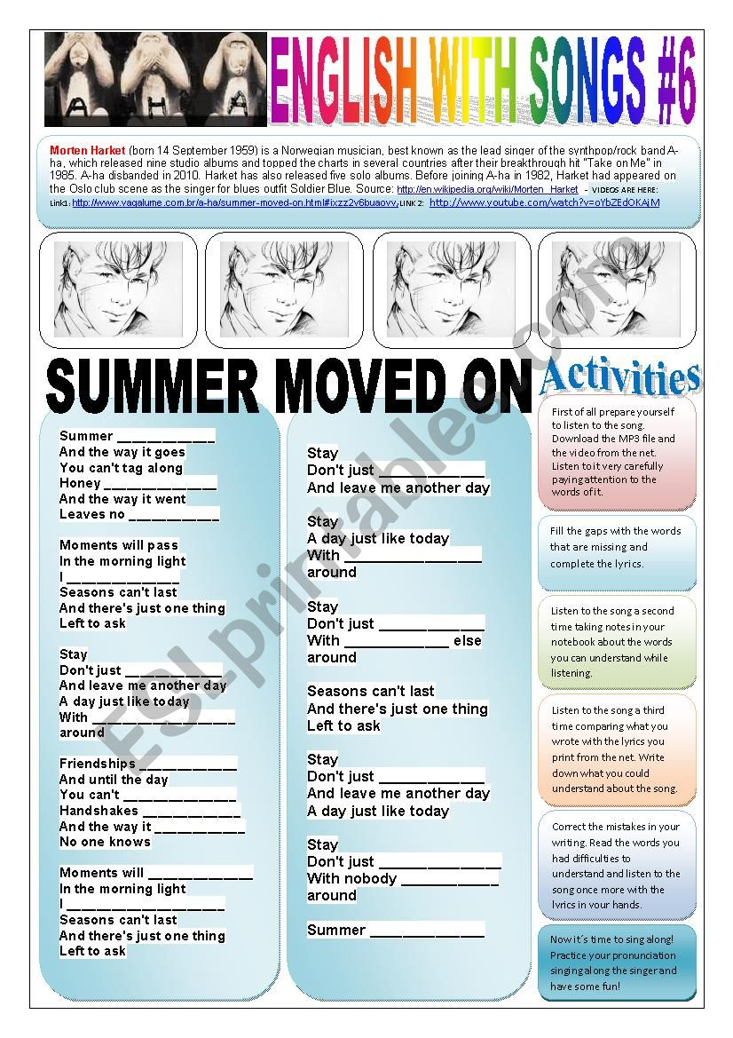 English With Songs 6 8 Pages Summer Moved On Morten Harket